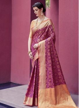 Magenta and Peach Thread Work Trendy Classic Saree