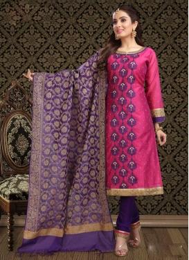 Magenta and Purple Embroidered Work Straight Salwar Kameez