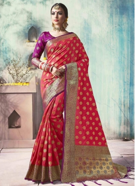 Magenta and Red Contemporary Saree