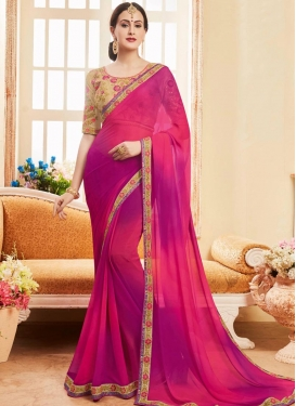Magenta and Rose Pink Contemporary Saree