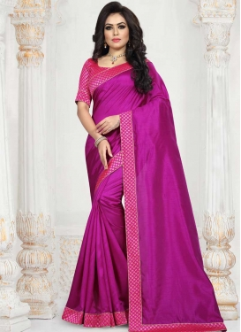 Magenta and Rose Pink Designer Contemporary Style Saree For Casual