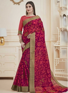 Magenta and Rose Pink Print Work Trendy Classic Saree
