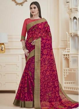 Magenta and Rose Pink Print Work Trendy Classic Saree