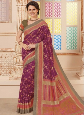 Magenta and Salmon Art Silk Trendy Saree