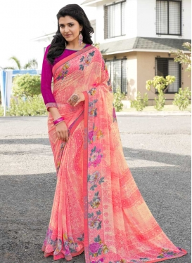 Magenta and Salmon Designer Contemporary Saree