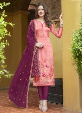 Magenta and Salmon Digital Print Work Crepe Silk Pakistani Salwar Suit