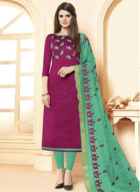 Magenta and Sea Green Cotton Churidar Salwar Kameez