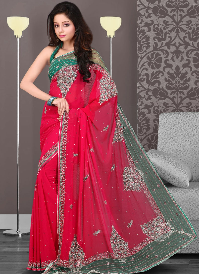 Magenta And Sea Green Georgette Saree