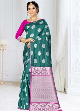 Magenta and Sea Green Thread Work Banarasi Silk Trendy Saree