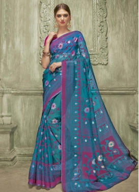 Magenta and Teal Art Silk Traditional Saree For Ceremonial