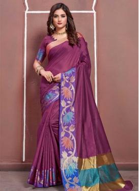Magenta and Violet Art Silk Traditional Saree