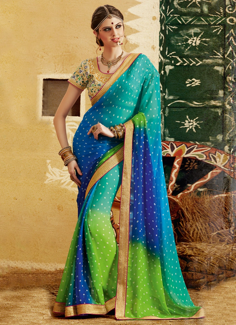 Magnetic Bandhej Print And Lace Work Party Wear Saree