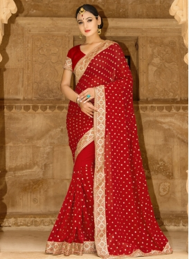 Magnetic Beads Work Classic Saree