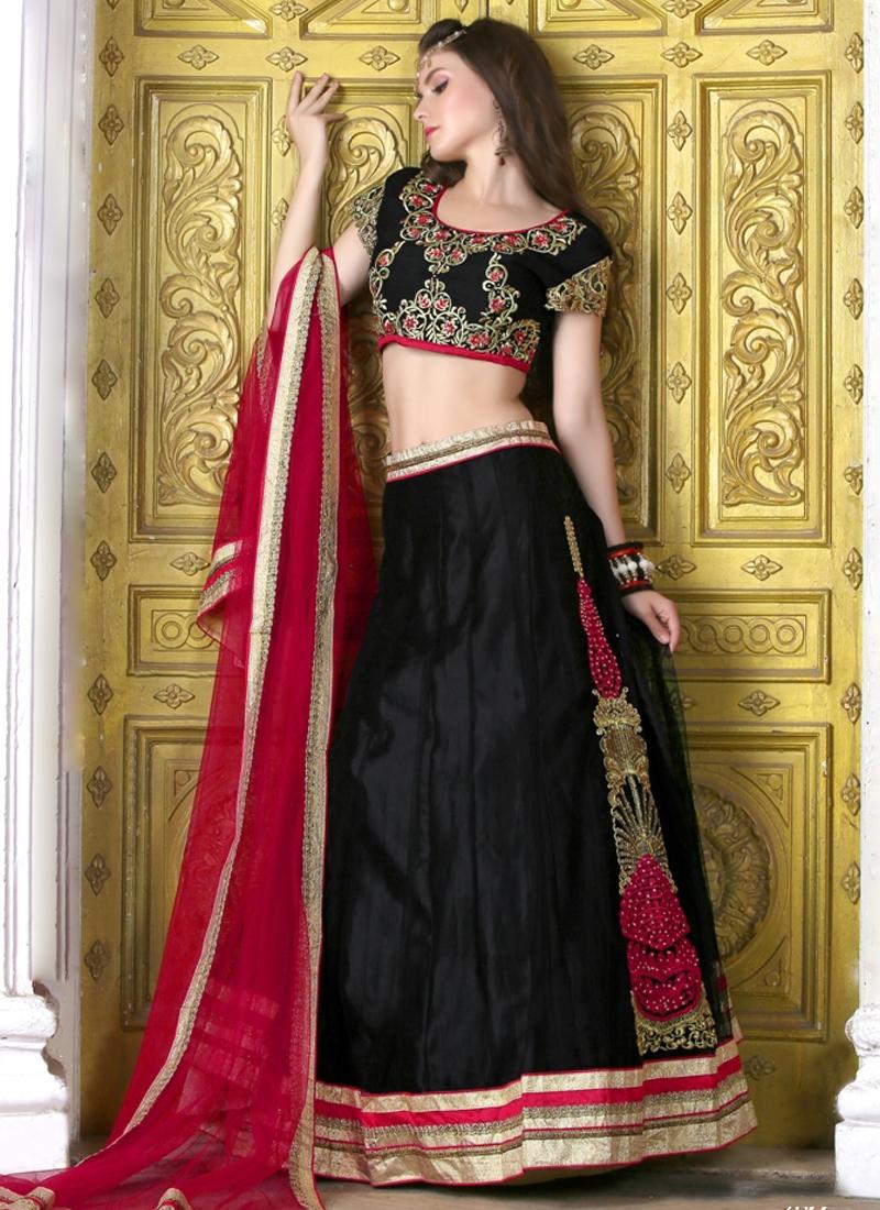 Magnetic Black Color Net Party Wear Lehenga Choli