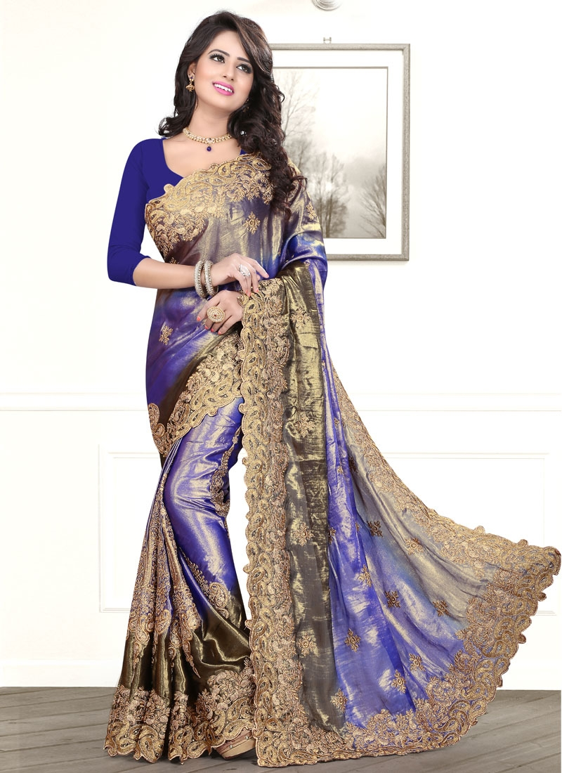 Magnetic Booti Work Chiffon Satin Party Wear Saree