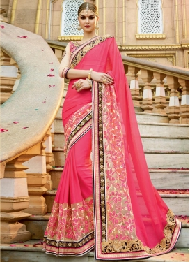 Magnetic  Chiffon Satin Designer Traditional Saree For Festival