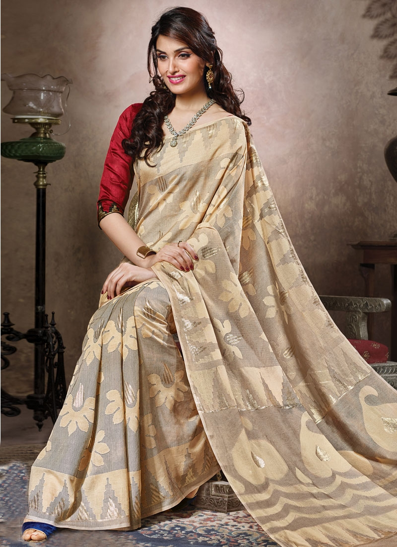 Magnetic Cream Color Casual Saree
