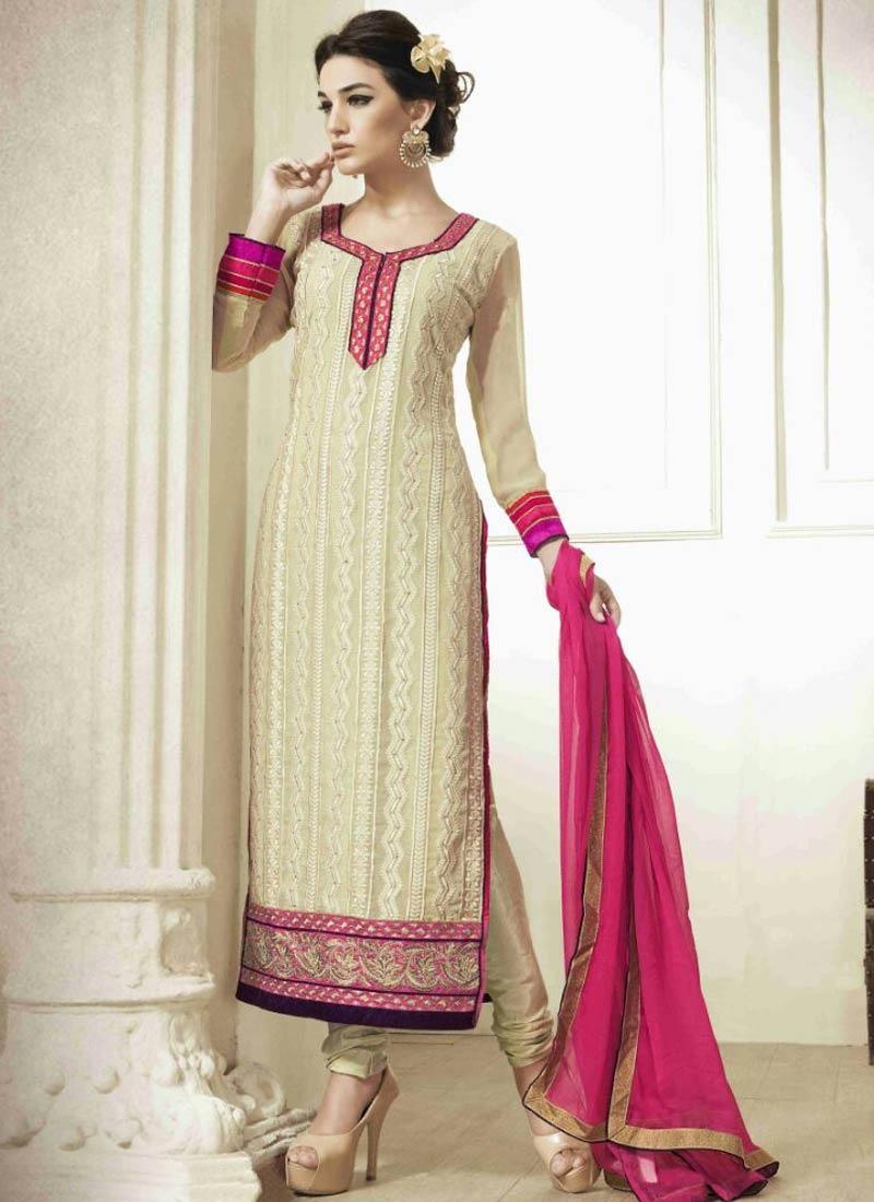 Magnetic Cream Color Pakistani Salwar Suit