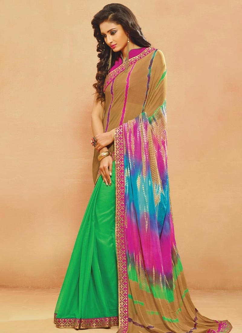Magnetic Digital Print Work Green Color Casual Saree
