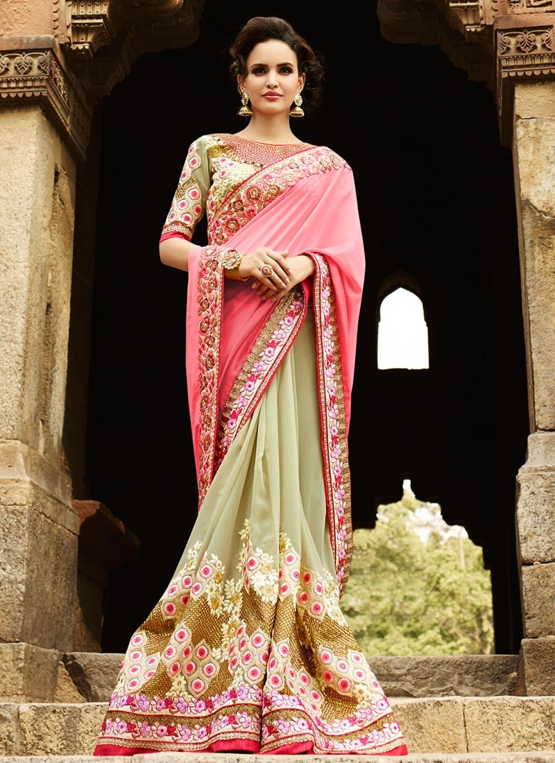 Magnetic Embroidery Work Half N Half Wedding Saree