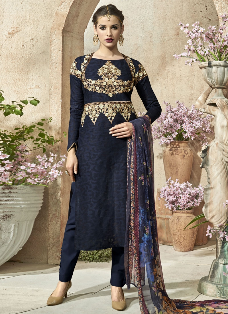 Magnetic Embroidery Work Pant Style Party Wear Suit