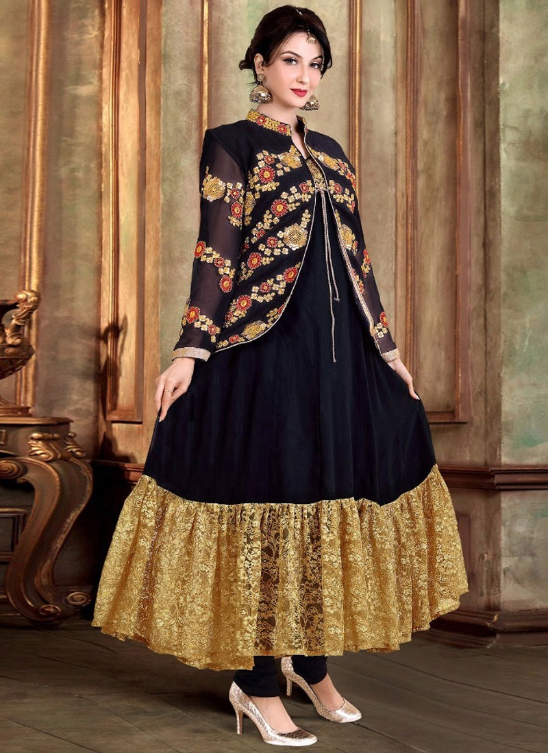 Magnetic Faux Georgette Jacket Style Party Wear Salwar Kameez