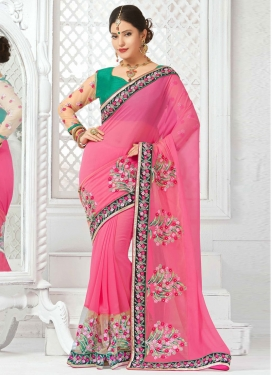 Magnetic Floral Work Net Designer Saree