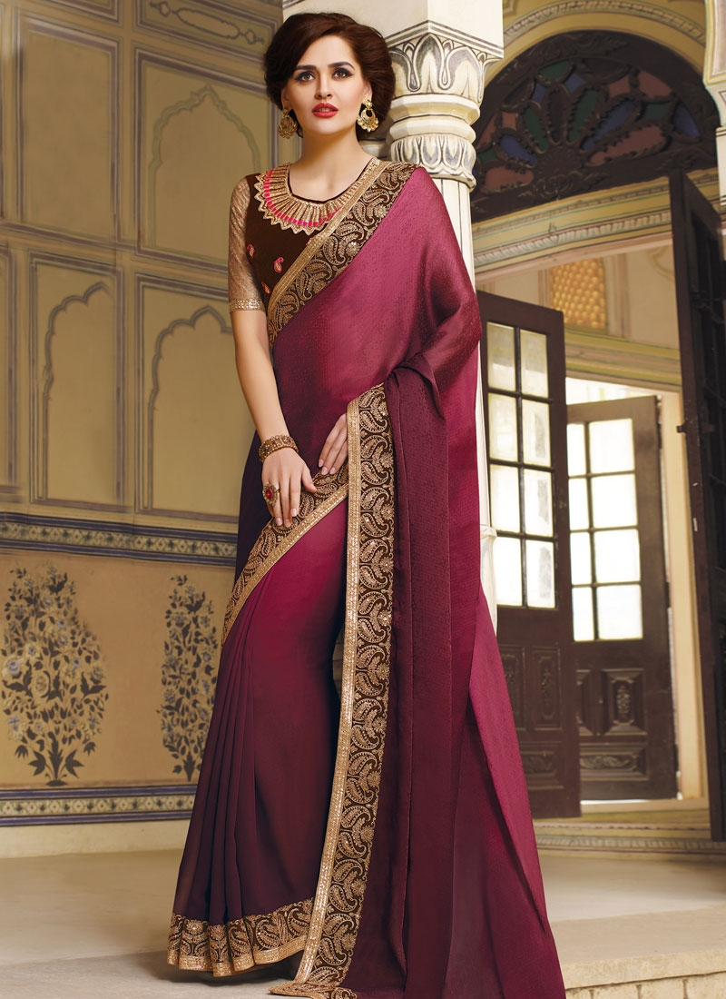 Magnetic Jacquard Lace Work Party Wear Saree