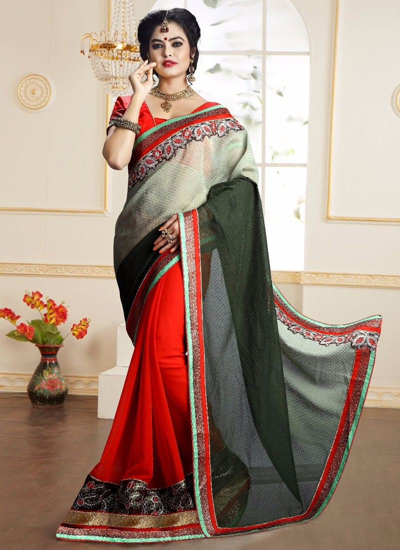 Magnetic Patch Border Work Half N Half Party Wear Saree