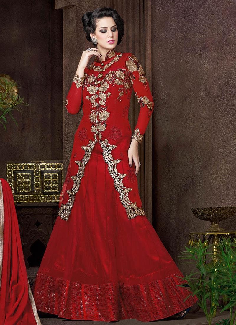 Magnetic Red Color Resham Work Designer Lehenga Choli