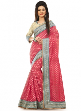 Magnetic Salmon Color Viscose Designer Saree