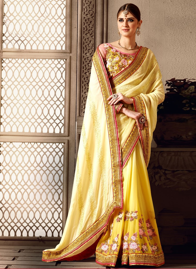 Magnetic Sequins Work Yellow Color Bridal Saree