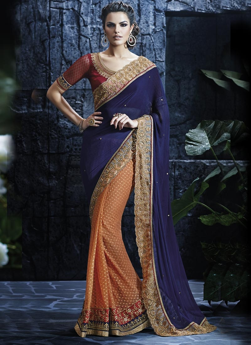 Magnetic Stone Work Faux Chiffon Half N Half Wedding Saree