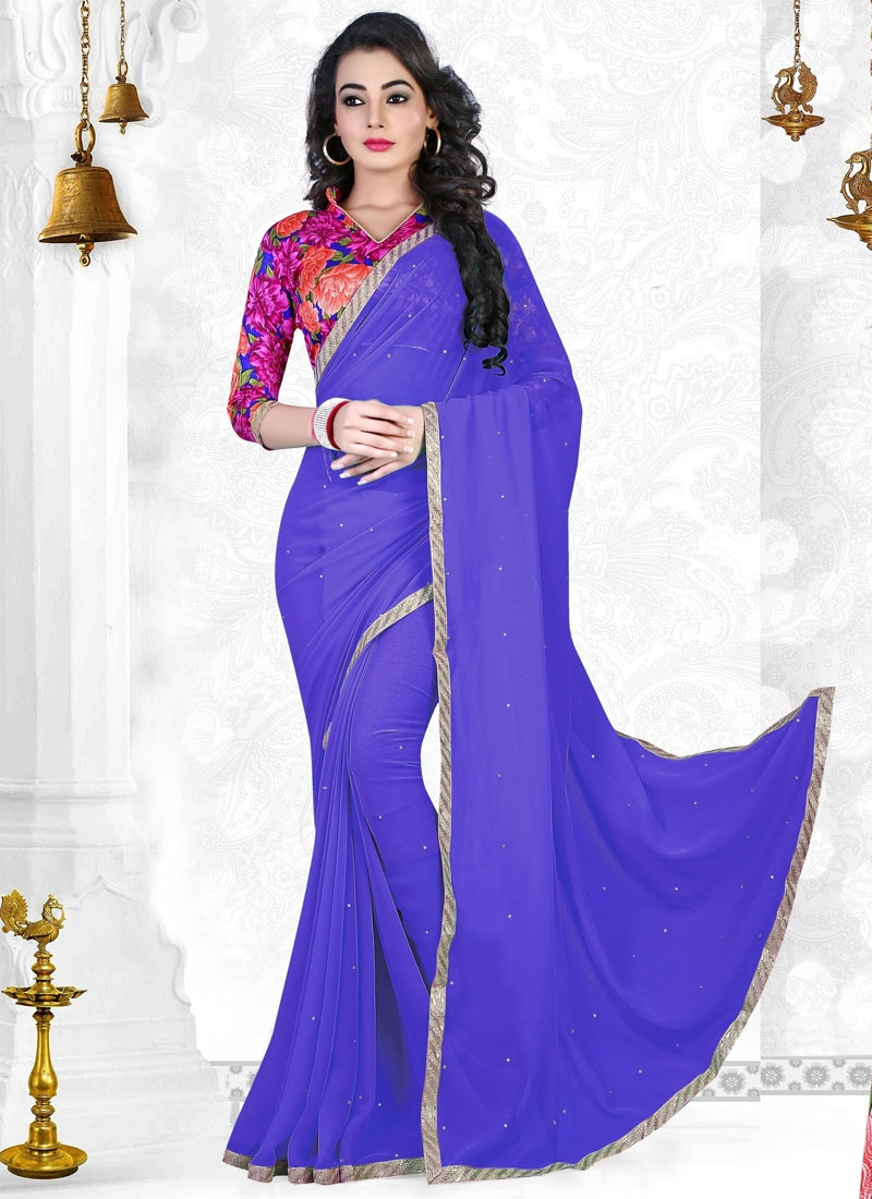 Magnetic Stone Work Faux Georgette Casual Saree