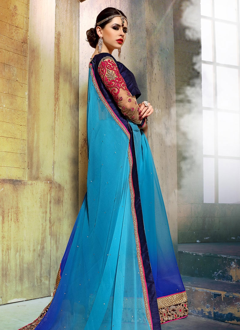 Magnetic Stone Work Faux Georgette Party Wear Saree