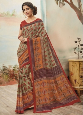 Magnetize Art Silk Beige and Orange Print Work Contemporary Saree For Casual
