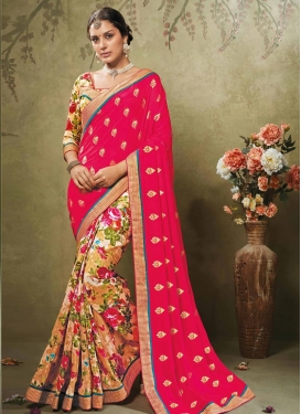 Magnetize  Art Silk Digital Print Work Half N Half Trendy Saree