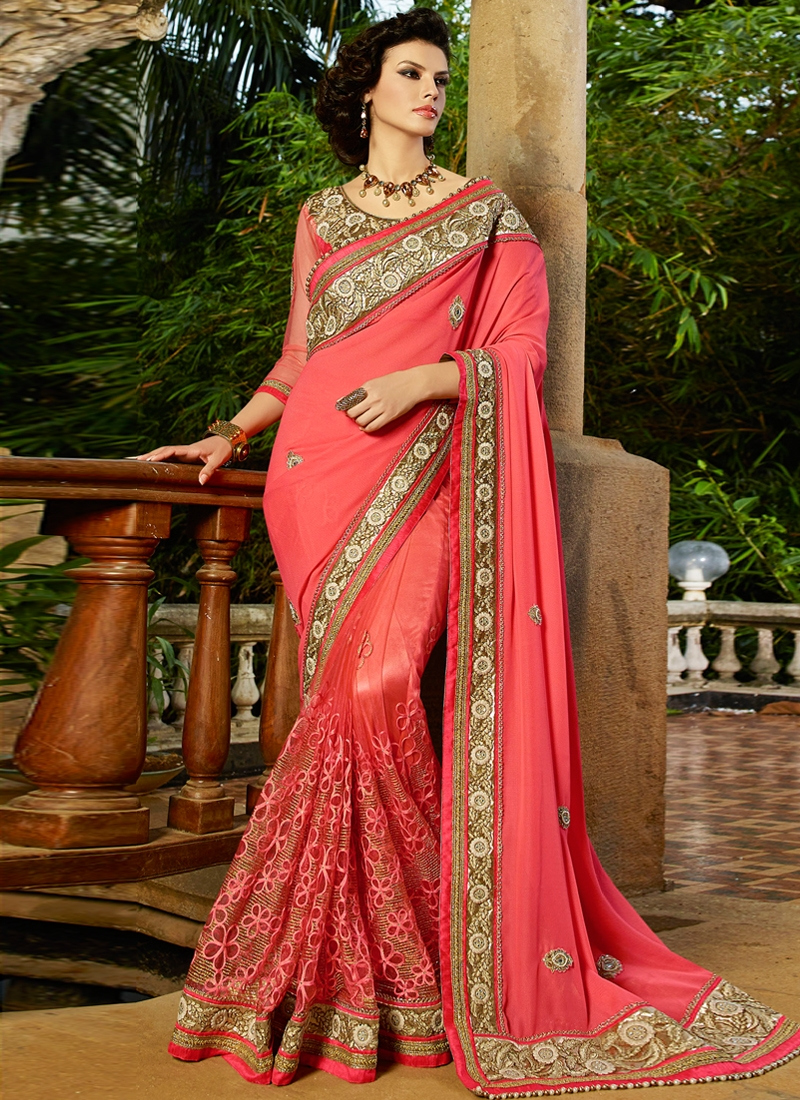 Magnetize Beads And Stone Work Wedding Saree