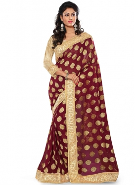 Magnetize Beads Work Maroon Color Party Wear Saree