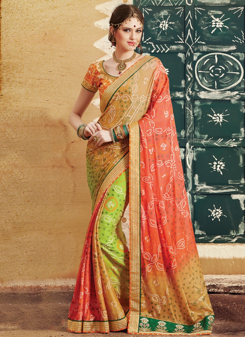 Magnetize Beads Work Silk Georgette Party Wear Saree