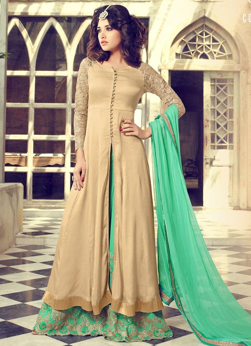 Magnetize Beige Color Palazzo Style Designer Salwar Kameez