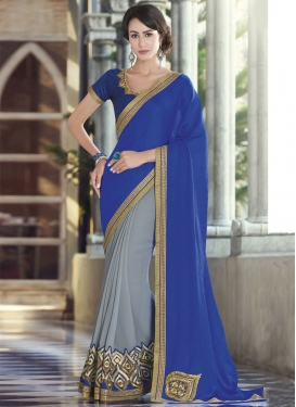 Magnetize Blue And Grey Color Half N Half Designer Saree