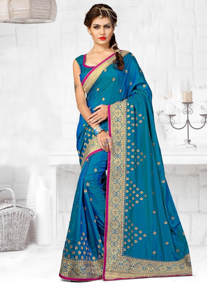 Magnetize Blue Color Resham Work Designer Saree