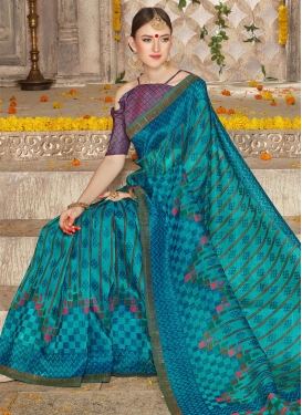 Magnetize Brasso Georgette Print Work Trendy Classic Saree