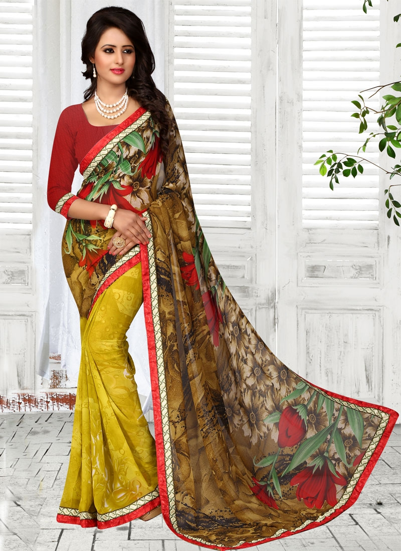 Magnetize Brown Color Half N Half Casual Saree