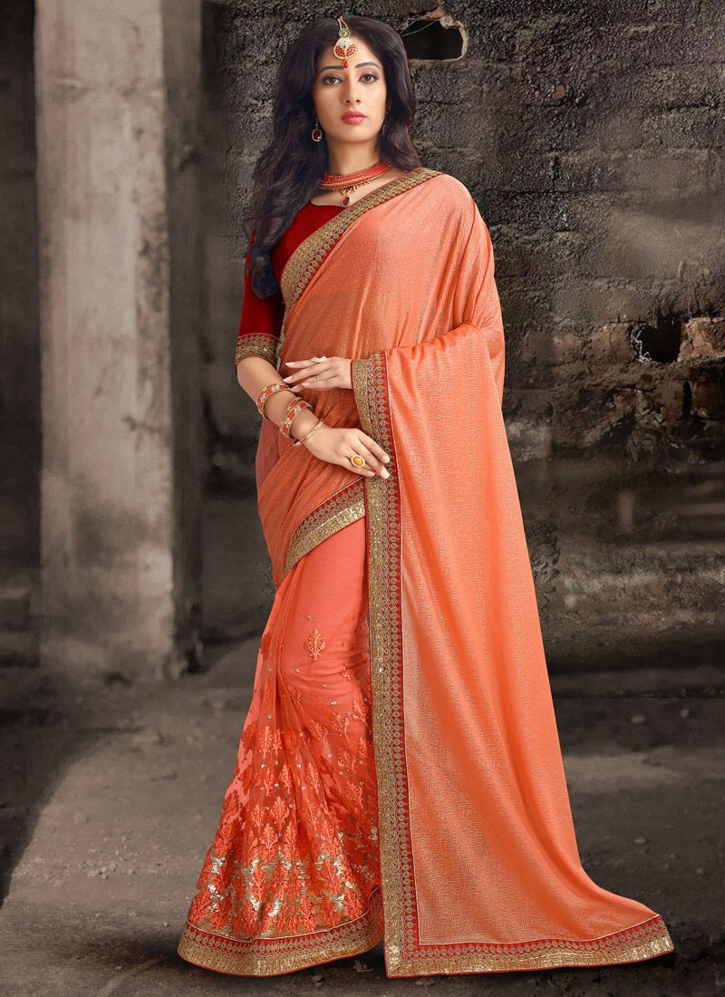 Magnetize Coral Color Lycra And Net Designer Saree