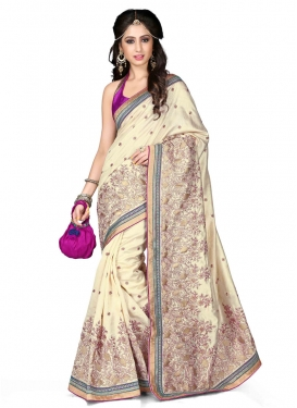 Magnetize Cream Color Lace Work Designer Saree