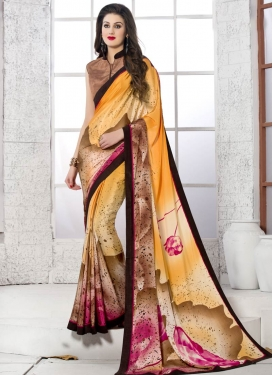 Magnetize Digital Print Crepe Silk Orange Color Casual Saree