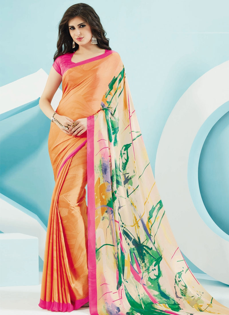 Magnetize Digital Print Work Peach Color Casual Saree