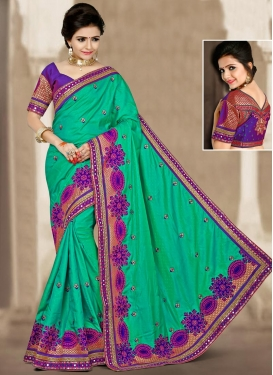 Magnetize Embroidered Work Silk Traditional Saree